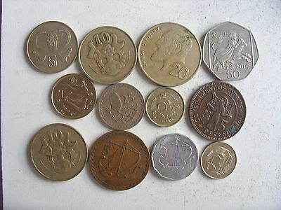 lot of 12 CYPRUS COINS 1-50 CENTS 1955-1998 INTERESTING (INCLUDE 5 MILS )