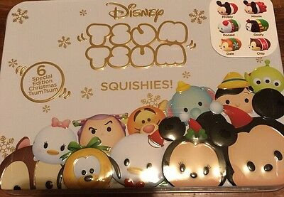 Disney Tsum Tsum Special Edition Christmas Squishies 6 Exclusive Characters Tin