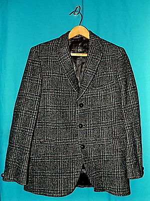 Vtg 60s HARRIS TWEED, CROFTERS, DUNN & CO. PLAID WOOL SPORT COAT,3 BUTTONS,Sz 37