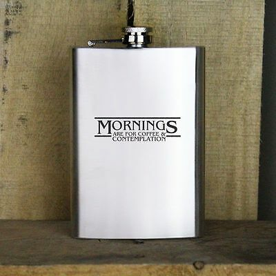 Funny Mornings Are for Coffee and Contemplation Quote 8 oz Stainless Steel Flask