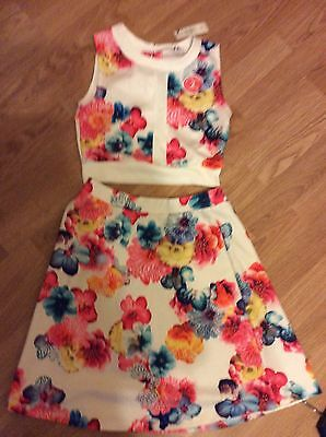 girls 2 piece top and skirt white floral river island size 11-12 years