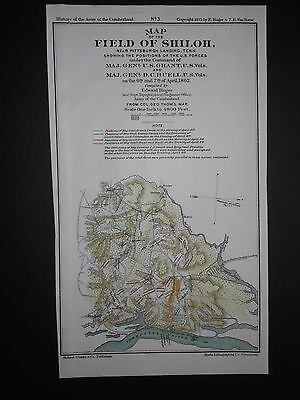 Map Of The Field Of Shiloh Tennessee Pittsburgh Landing 1862 Hand Colored