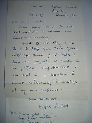 Autograph letter signed by the politician and pacifist, Wilfred Wellock, 1937
