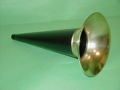 """Columbia Edison 10-3/4"""" Black and Brass Cylinder Phonograph Horn Gem Eagle Q"""