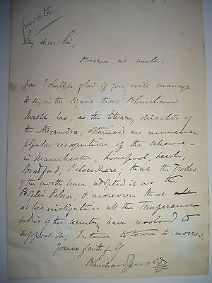 Autograph letter signed by journalist and playwright, Blanchard Jerrold, 1871