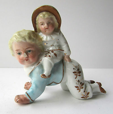 Antique early German Fairing  Figurine Child Crawiling Victorian Some Damage
