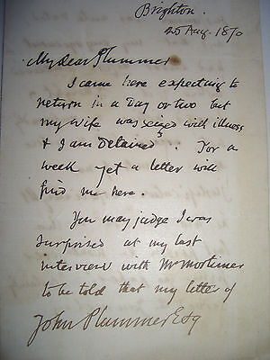 Autograph letter signed by the secularist and writer, George Holyoake, 1870