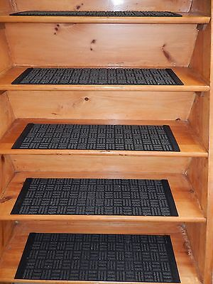 13 STEP 8'' x 29.1/2''  100% Rubber Shiny Outdoor/ Indoor Stair Treads Non Slip
