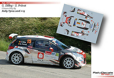 Decal 1/43 RDS43220 Guillaume Dilley - Citroen DS3 R5 - Rally Ypres 2016
