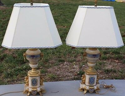 Pair of Antique Gilt Bronze Mounted Cloisonne Decorated Onyx Table Lamps & Shade