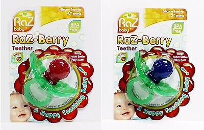 Razbaby Razberry Silicone Baby Pacifier, Teether, Gum Soother, BAP Free