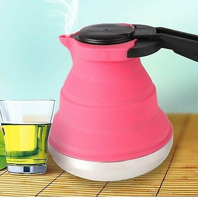 Foldable Silicone Hot Water Kettle Tea Boiler Outdoor Travel Camping Kitchen ...