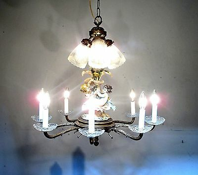 Antique Vintage Chandelier Bronze Cherubs Glass Shades  Fixture Light CHIC LAMP