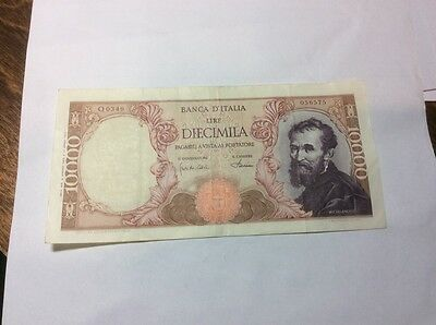 Italy 10000 Lire Banknote 4/1/68 . P97D.