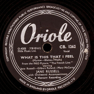"""JANE RUSSEL """"The French Line"""" What is this that I feel -Soundtrack- 78rpm S4982"""
