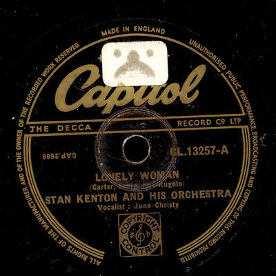 STAN KENTON & ORCH. & JUNE CHRISTY -VOCAL- Lonely Woman/Abstraction  78rpm S2713