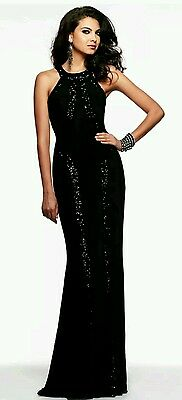 New Elegant Black Evening Sequin Mermaid Cocktail Maxi Gown Dress Size 14.16