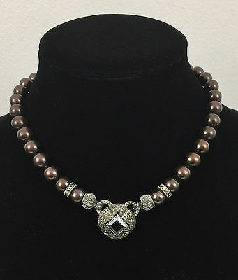 Judith Jack Brown Pearl & Marcasite Necklace Smoky Quartz Center Stone Sterling