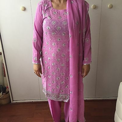 New Ladies Pink Silver Sequence Wedding Detail Salwar Kameez Size 12 Meduim