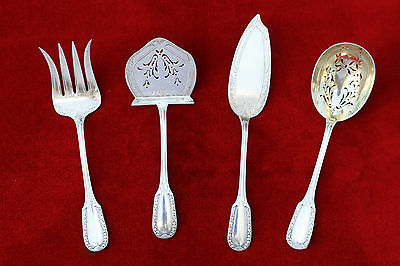 PUIFORCAT French Sterling Silver Hors D'oeuvre Appetizer Cake serving  Set 4 p
