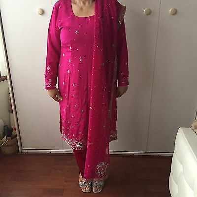 New Ladies Pink Silver Sequence Heavy Shalwar Kameez Size 12 M Wedding Uk