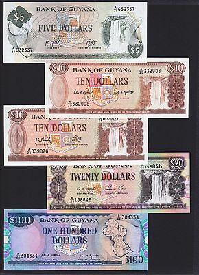 Guyana 5 different pcs 5 10 20 100 Dollars all Unc