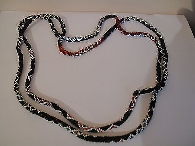 Vintage old beaded handles for a vintage bag or purse, black and red