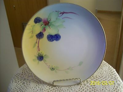 Blue Raspberry Hand Painted Antique Porcelain China Nippon Plate Charger