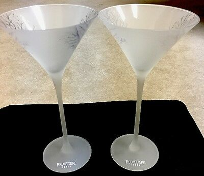 Frosted Cold Activated Belvedere Martini Glasses - Brand New Set Of 2
