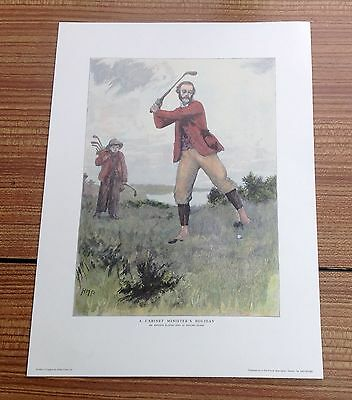 """Colour Lithograph Golf Print """"A Cabinet Ministers Holiday"""" Mr Balfour By HMP"""