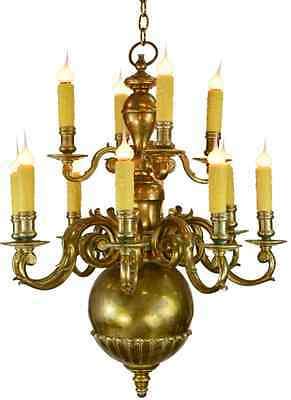 Chapman Georgian 12 Arm Antique Brass Chandelier c.1980/ After E.F.Caldwell