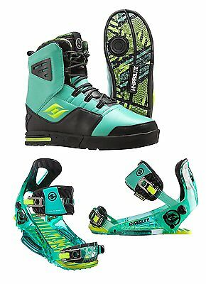 2016 Hyperlite Webb Wakeboard Boots With Teal System Pro Binding (Men's 10)