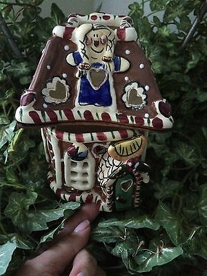 2002 Blue Sky Clayworks Gingerbread Candy House Tealight Heather Goldminc NWT!