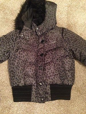 Next Girls Padded Puffer Jacket Black With A Leopard Print Age 7-8 Years