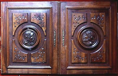 Two Antique French Carved Wood Deep, Figural Door Panels  Knight Face