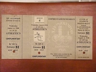 1948 Austerity Games Olympic Ticket,very Rare Full Complimentary Ticket
