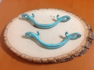 031 VTG Art Deco Handles In Turquoise Wash And Slightly Distressed Set Of 2