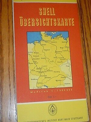 Shell Oil Gas Station Road Map Germany  1950