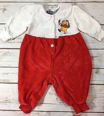 Vintage 90s Winnie the Pooh Baby Girl Christmas One-Piece Romper Velour 3-6M
