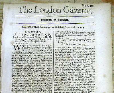 1703 London newspaper w PROCLAMATION for QUEEN ANNES WAR British Navy in America