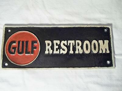 Cast Iron Gulf Restroom Sign Plaque Gas Oil Collectible Sign Gas Station Sign