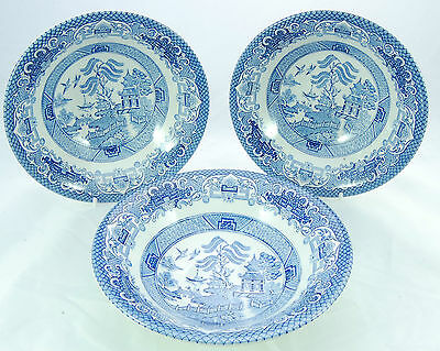 English Ironstone Pottery 'Old Willow' Pattern Bowls x 3