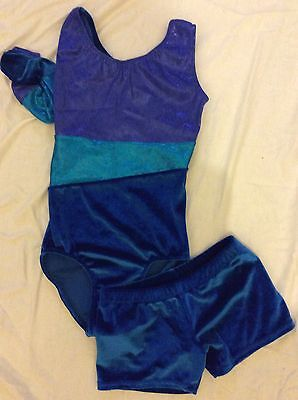 New Velvet Leotard And Short Set Gymnastic Trampoline Dance Size 26 ( 5-6 Years)