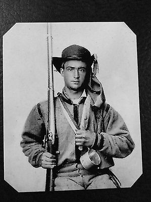 Civil War  Military Soldier With Rifle And Knife TinType C945NP