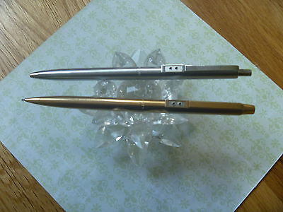 2Vintage Papermate Gold Mechanical Pencil & Stainless Steel Chrome Ballpoint USA