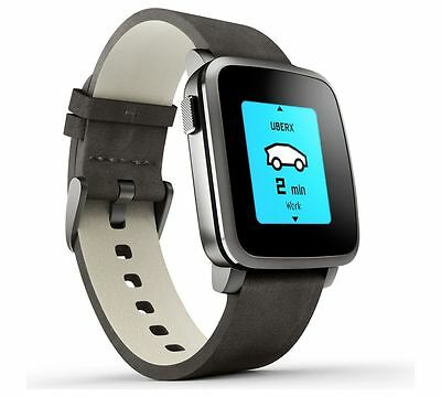 Pebble TimeSteel Smartwatch for Android or iPhone Black Leather Strap RRP£179.95