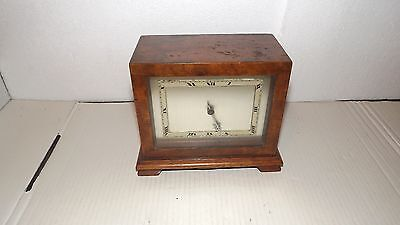 Art Deco Walnut Buren Swiss Mantel Clock.