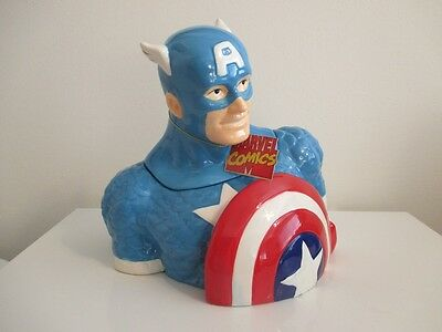 New Marvel Comic Book CAPTAIN AMERICA Cookie Jar Westland Giftware MINT IN BOX