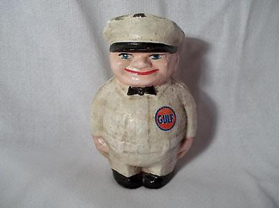 Cast Iron Gulf Oil Gas Bank Filling Station Attendant Bank Advertising Promotion