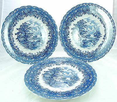 Vintage Blue & White 'Country Style' Dinner Plates by Grindley & Co. Ltd.